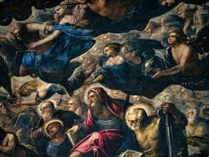 Le Paradis de Tintoret, les Trônes et les anges des Vertus Principautés avec Saint-Barthélémy et Saint-Pierre au Palais des Doges de Venise