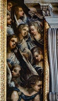 Les anges situés sur la gauche du tableau du Paradis de Tintoret au Palais des Doges de Venise