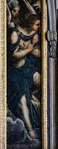 Le Paradis de Tintoret, les anges sur la gauche du tableau, au Palais des Doges de Venise
