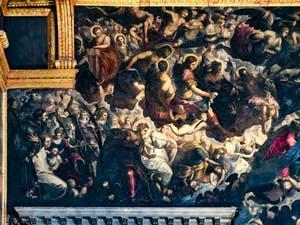 L'angle supérieur gauche du tableau du Paradis de Tintoret au Palais des Doges de Venise