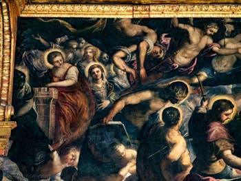 Le Paradis de Tintoret, sainte Barbe, Saint Louis, saint Sébastien et saint Roch, au Palais des Doges de Venise