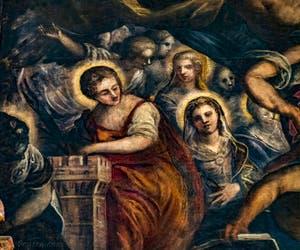 Le Paradis de Tintoret, Sainte-Barbe et sa tour, au Palais des Doges de Venise