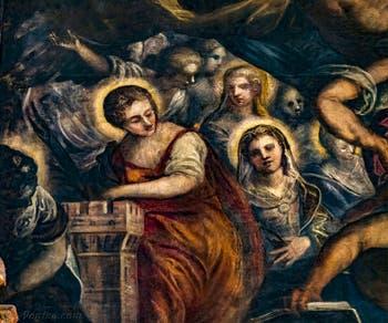 Le Paradis de Tintoret, sainte Barbe et sa tour, au Palais des Doges de Venise
