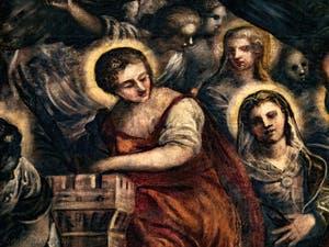 Sainte-Barbe dans le Paradis de Tintoret au Palais des Doges de Venise
