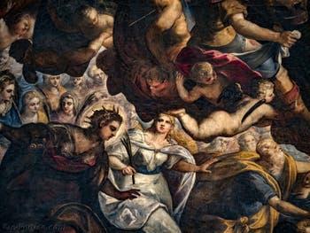 Le Paradis de Tintoret, sainte Justine et sainte Lucie de Syracuse, au Palais des Doges de Venise