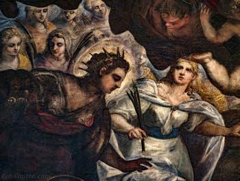 Le Paradis de Tintoret, détails de sainte Justine de Padoue et de sainte Lucie de Syracuse, au Palais des Doges de Venise