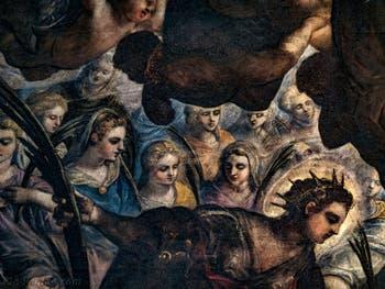 Le Paradis de Tintoret, sainte Agnès (en bleu) et sainte Justine, au Palais des Doges de Venise