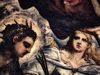 Le Paradis de Tintoret, les visages de sainte Justine de Padoue et de sainte Lucie de Syracuse, au Palais des Doges de Venise