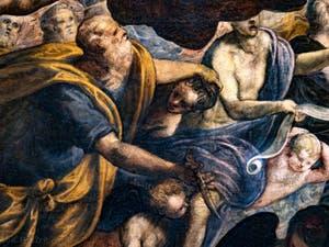 Le Paradis de Tintoret, Abraham tenant Isaac par les cheveux, au Palais des Doges de Venise