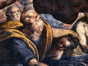 Détails d'Abraham et d'Isaac dans le Paradis de Tintoret au Palais des Doges de Venise