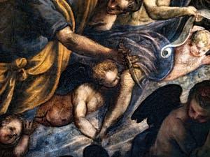 Le Paradis de Tintoret, Abraham en train de lacher son couteau, au Palais des Doges de Venise