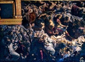 Le coin supérieur gauche du tableau du Paradis de Tintoret au Palais des Doges de Venise