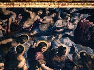 Le Paradis de Tintoret, Saint Louis, saint Sébastien et saint Roch, au Palais des Doges de Venise