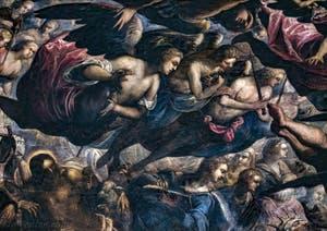 Le Paradis de Tintoret, saint Jean-Baptiste et les anges, au Palais des Doges de Venise