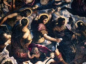 Le Paradis de Tintoret, Saint Louis, sainte Hélène, saint Sébastien et saint Roch, au Palais des Doges de Venise