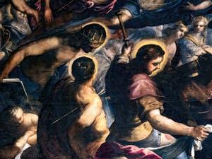 Le Paradis de Tintoret, Saint Louis couronné, saint Sébastien percé de flèches et saint Roch, au Palais des Doges de Venise