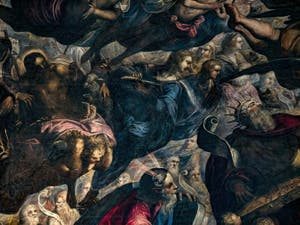 Le Paradis de Tintoret, saint Jean-Baptiste, Moïse et le Roi David, au Palais des Doges de Venise