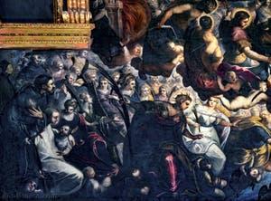 Le Paradis de Tintoret, saint François d'Assise, sainte Catherine, saint Bernard, saint Sébastien, saint Roch, sainte Justine, sainte Agnès et sainte Lucie, au Palais des Doges de Venise