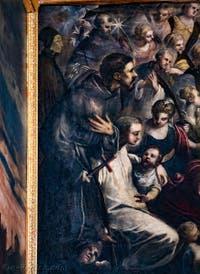 Le Paradis de Tintoret, saint Dominique, saint François d'Assise, saint Bernard de Clervaux ou saint Antoine de Padoue, au Palais des Doges de Venise