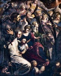 Le Paradis de Tintoret, saint Dominique, saint François d'Assise, sainte Catherine d'Alexandrie, saint Bernard de Clervaux ou saint Antoine de Padoue, au Palais des Doges de Venise