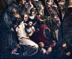 Le Paradis de Tintoret, saint Bernard de Clervaux avec le démon à ses pieds ou saint Antoine de Padoue avec l'enfant, au Palais des Doges de Venise