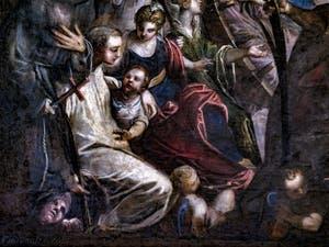 Le Paradis de Tintoret, saint Bernard de Clervaux et le démon à ses pieds, saint Antoine de Padoue avec l'enfant sous son bras, au Palais des Doges de Venise