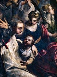 Le Paradis de Tintoret, saint Antoine de Padoue et l'enfant (ou saint Bernard de Clervaux), au Palais des Doges de Venise