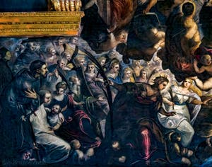 Le Paradis de Tintoret, saint Dominique, saint François d'Assise, sainte Catherine d'Alexandrie, saint Sébastien, sainte Agnès, sainte Justine de Padoue, sainte Lucie de Syracuse, saint Bernard de Clervaux, saint Antoine de Padoue, au Palais des Doges de Venise