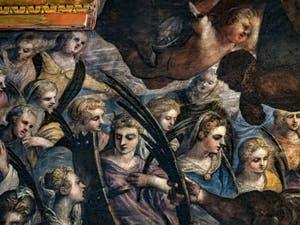 Le Paradis de Tintoret, Sainte Catherine d'Alexandrie et sa roue brisée et sainte Agnès en bleu, au Palais des Doges de Venise