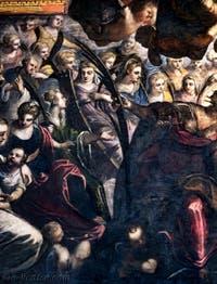 Le Paradis de Tintoret, sainte Catherine d'Alexandrie et sa roue brisée, à son côté, en bleu, sainte Agnès, au Palais des Doges de Venise