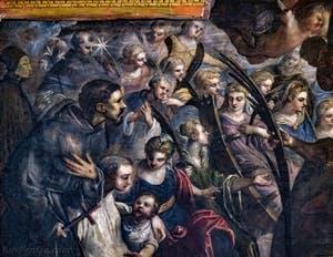 Le Paradis de Tintoret, saint Dominique et son étoile, saint François d'Assise, sainte Catherine d'Alexandrie et sa roue brisée, sainte Agnès, saint Bernard de Clervaux/saint Antoine de Padoue, au Palais des Doges de Venise