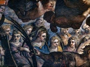 Le Paradis de Tintoret, sainte Catherine d'Alexandrie et sa roue brisée avec sainte Agnès à sa gauche en bleu, au Palais des Doges de Venise