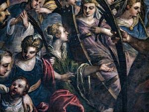 Le Paradis de Tintoret, sainte Catherine d'Alexandrie et sa roue brisée, au Palais des Doges de Venise