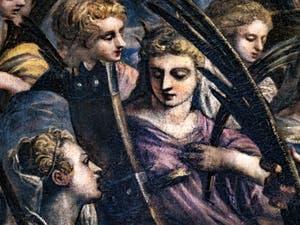 Le Paradis de Tintoret, le beau visage de sainte Catherine d'Alexandrie, au Palais des Doges de Venise
