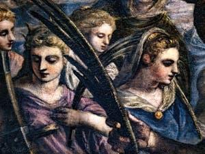 Le Paradis de Tintoret, sainte Catherine d'Alexandrie en mauve et sainte Agnès en bleu, au Palais des Doges de Venise