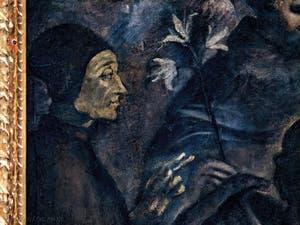 Le Paradis de Tintoret, Saint avec à sa droite le lys à trois fleurs de saint Dominique, au Palais des Doges de Venise