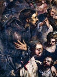 Le Paradis de Tintoret, saint François d'Assise et sa croix, au Palais des Doges de Venise