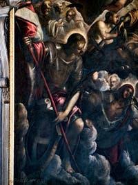 Le Paradis de Tintoret, saint Georges et sa lance, sainte Ursule et les flèches, au Palais des Doges de Venise