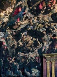 Le Paradis de Tintoret avec Moïse et ses tables de la loi, saint Georges et sa lance, saint Laurent et sa grille, sainte Ursule entourée de flèches, au Palais des Doges de Venise