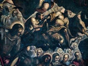 Le Paradis de Tintoret, saint Georges et saint Laurent tenant sa grille, au Palais des Doges de Venise
