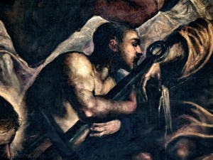 Le Paradis de Tintoret, saint Laurent tenant la grille de son supplice, au Palais des Doges de Venise