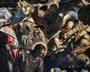 Le Paradis de Tintoret, saint Georges et saint Laurent, au Palais des Doges de Venise