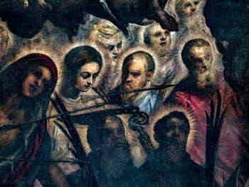 Le Paradis de Tintoret, sainte Ursule et saint Pierre de Vérone avec le couteau planté sur la tête, au Palais des Doges de Venise
