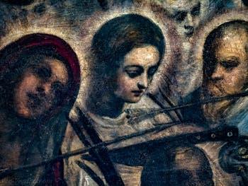 Le Paradis de Tintoret, le couteau planté au sommet de la tête de saint Pierre de Vérone, au Palais des Doges de Venise