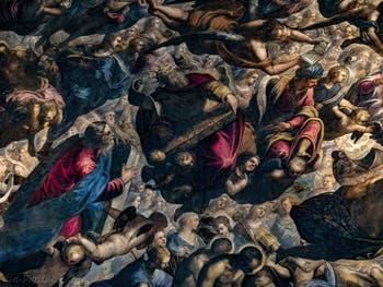 Le Paradis de Tintoret, Moïse et les tables de la loi, le roi David et le roi Salomon, au Palais des Doges de Venise