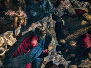 Le Paradis de Tintoret, Moïse et les tables de la Loi, le roi David et une cithare, au Palais des Doges de Venise