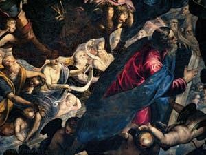 Le Paradis de Tintoret, Abraham et Moïse avec les tables de la Loi, au Palais des Doges de Venise
