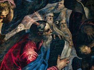 Le Paradis de Tintoret, Moïse avec les tables de la Loi, au Palais des Doges de Venise