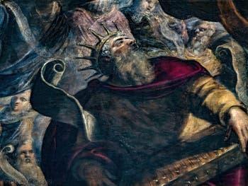 Le Paradis de Tintoret, le roi David d'Israël avec une cithare, au Palais des Doges de Venise
