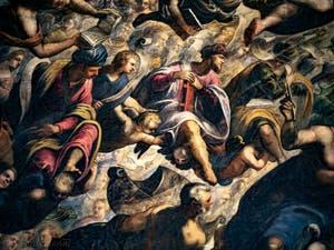 Le Paradis de Tintoret, le roi Salomon, Isaie, Amos et Noé, au Palais des Doges de Venise